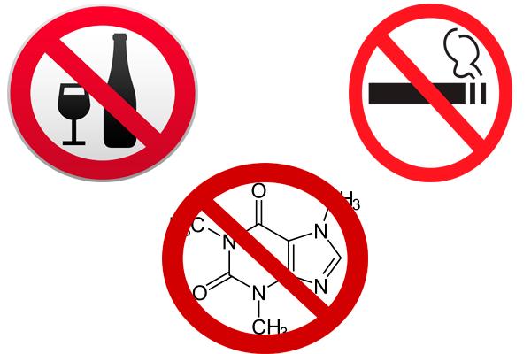 Запрет на употребление алкоголя, кофеина и курение сигарет для достижения нормальной концентрации Пролактина