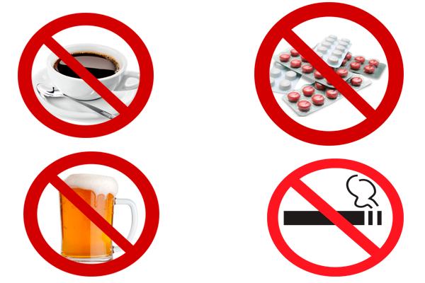 Запрет на курение, прием алкоголя и кофе а также лекарственных препаратов за три месяца до зачатия