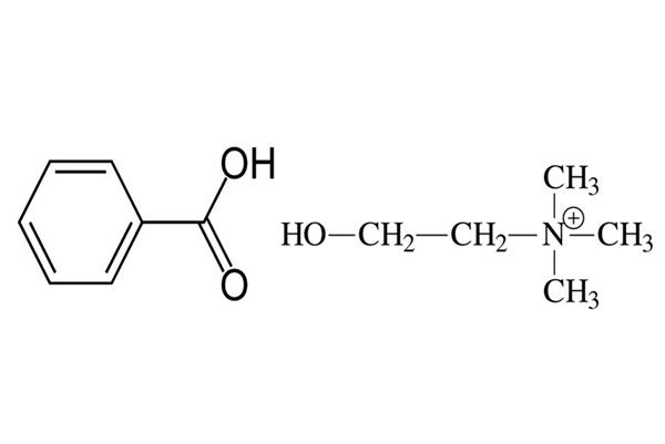 Химические формулы бензойной кислоты и холина благодаря которым Кыст аль Хинди обладает своим целебным свойством