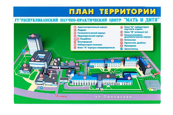 План территории Республиканско научно-практического центра «Мать и дитя» (Минск)