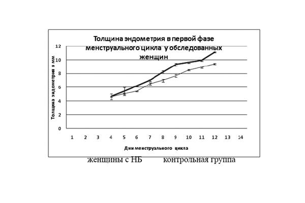 График изменения толщины эндометрия в первой фазе менструального цикла